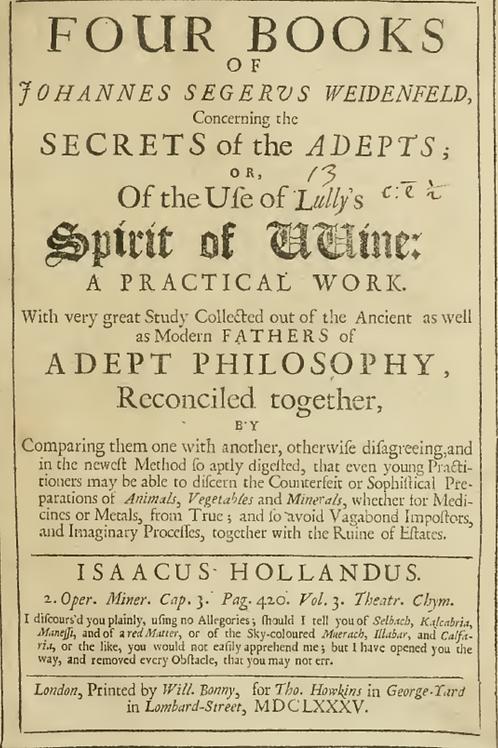 Four Books of Johannes Segerus Weidenfeld, Concerning the Secrets of Adepts