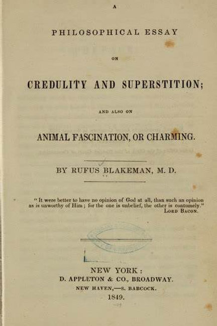 Credulity and Superstition on Animal Fascination or Charming