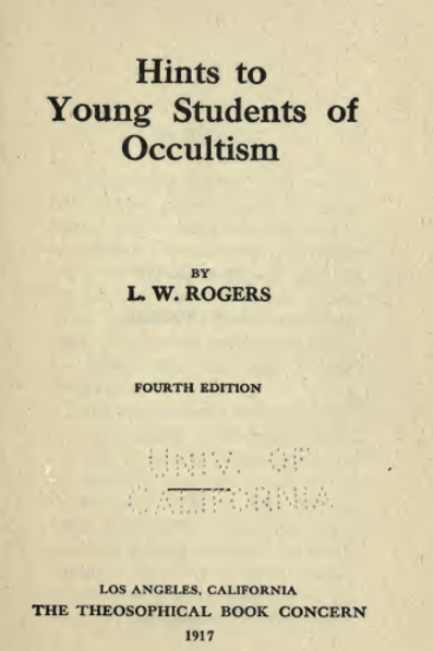 Hints To Young Students Of Occultism 1915