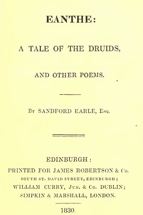 Eanthe A Tale Of The Druids And Other Poems