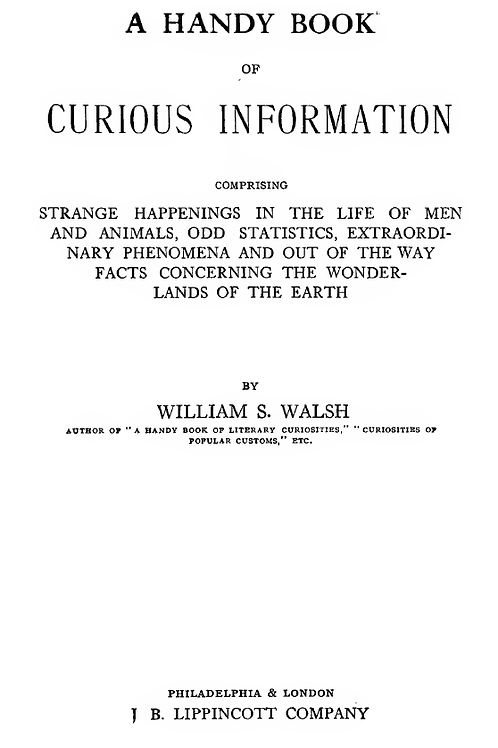 A Handy Book of Curious Information