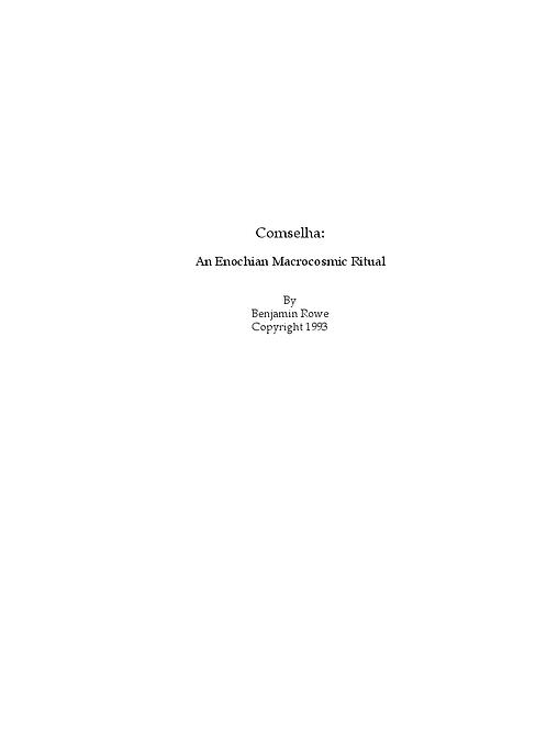 Comselha (An Enochian Macrocosmic Ritual)