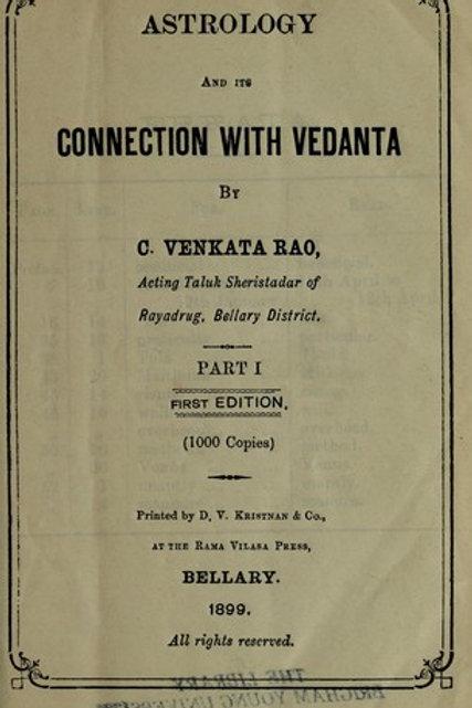 Astrology - its Connection With Vedanta - C Venkatarava 1899