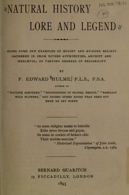 Natural History Lore and Legend - F E Hulme