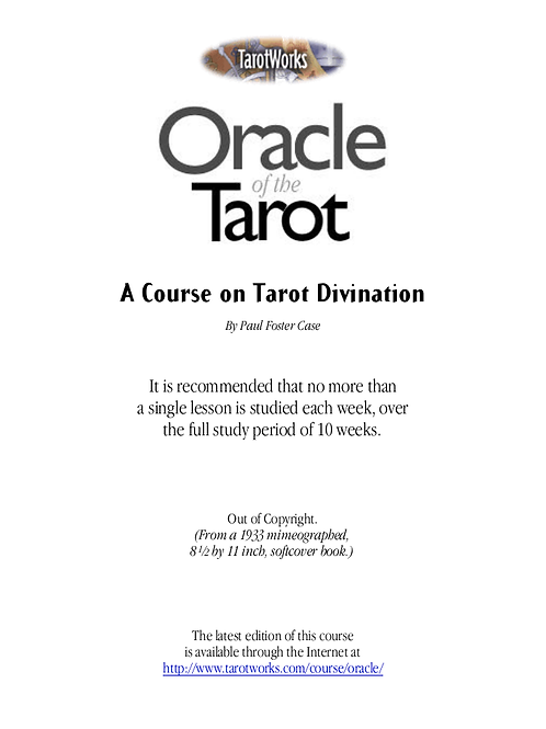 Oracle Of The Tarot A Course On Tarot Divination