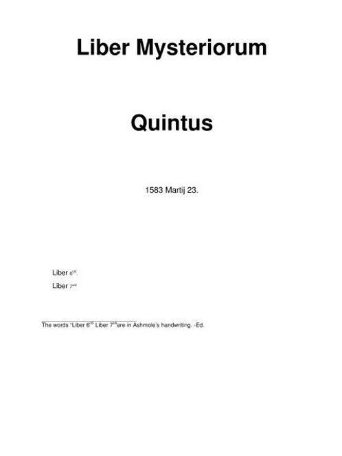 Liber Mysteriorum Quintus - J Dee