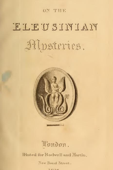 Essay on the Mysteries of Eleusis - M. Ouvaroff