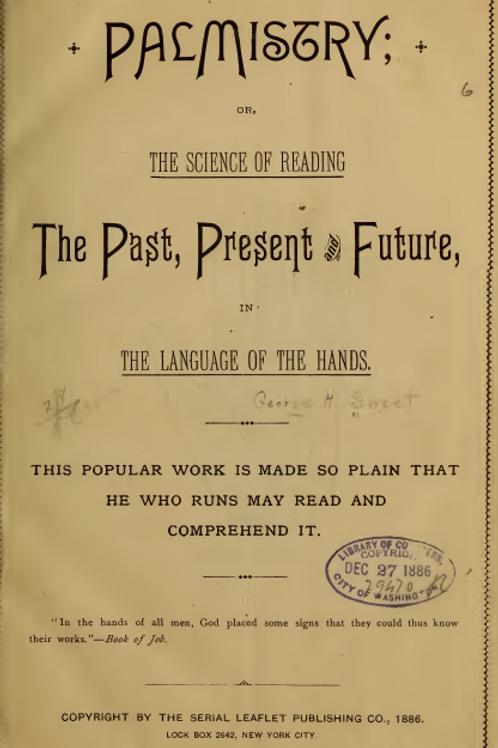 Palmistry the Science of Reading