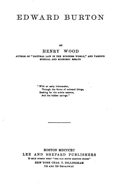 Edward Burton - H Wood 1890