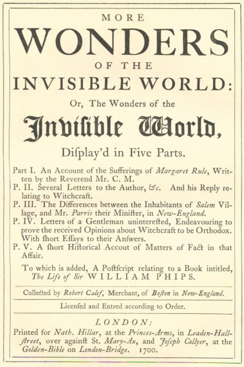 More Wonders of the Invisible World - R Calef