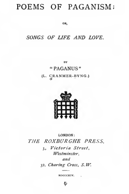 Poems Of Paganism or Songs Of Life And Love 1895
