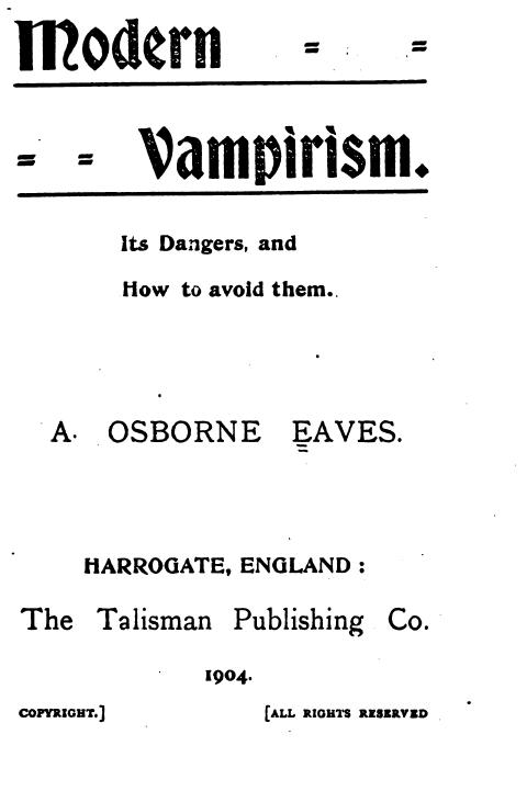 Modern Vampirism AO Eaves