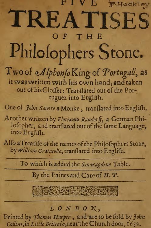 Five Treatises of the Philosophers Stone - H Pinnel 1651