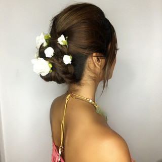 Soft Hair Up-Do with Fresh Flowers