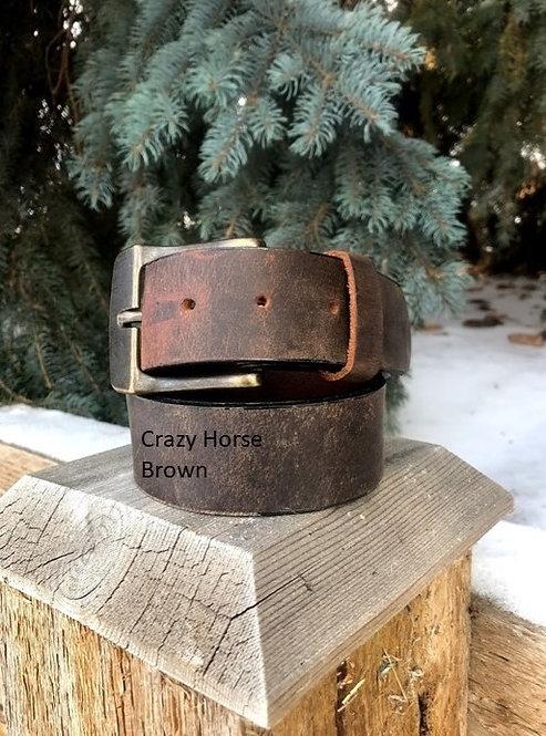 Crazy Horse Brown Leather Belt