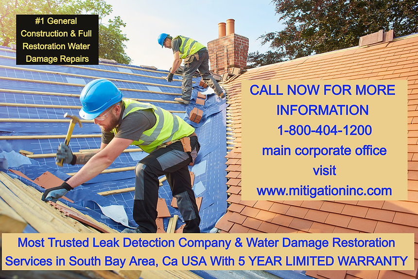 water damage restoration new roofing roofing repairs general construction water damage repairs leak detection services torrance general construction services torrance california