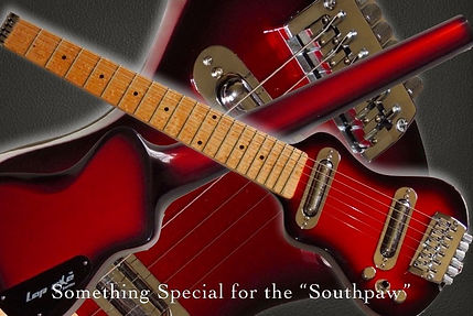 Left handed travel electric guitar by Lap axe featuring single coil pickups
