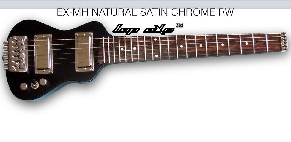 Mahogany body travel guitar with chrome hardware.