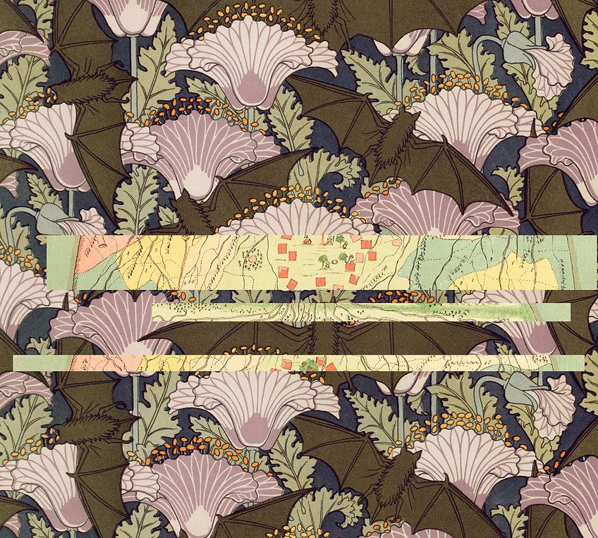 background image with a mix of patterns including purple art deco flowers, a map, and brown bats
