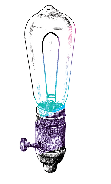 illustration of a tall light bulb standing on its own, in purple, black and blue.