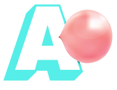a bright blue blocky capital A letter logo with a pink shiny bubble gum bubble next to it