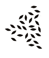 a triangle of little black leaf shapes