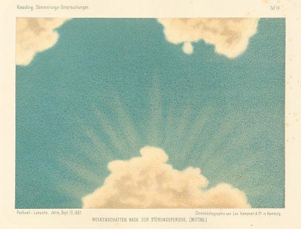 a vintage illustration of white clouds on a light blue background