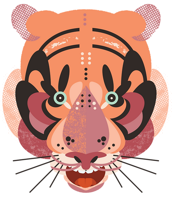 illustration of an orange tiger face