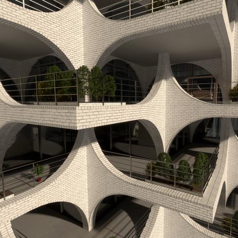 Apartment Complex Concept Render