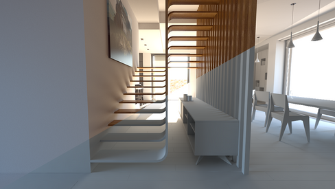 Modern Wood Staircase Concept Render