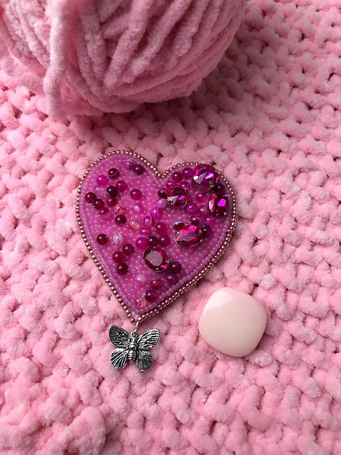 APb0912 Brosche Herz-Pink