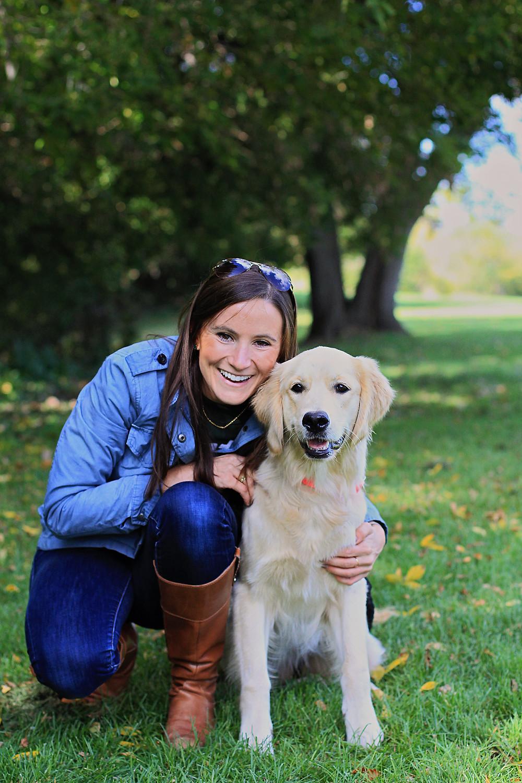 Owner and golden retriever at Orion Oaks Dog Park