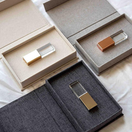 Crystal Glass USB Flash Drive linen box