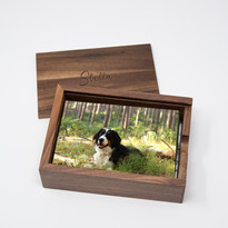Walnut wood photo box example open Stell