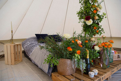 Honeymoon bell tent with floristry by Walter and Blossom