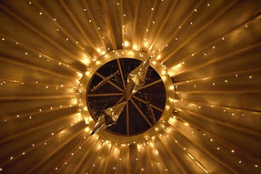 Fairylight canopy around 18ft yurt crown