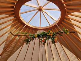 Floral Centrepiece in 18ft Event Yurt in Leeds
