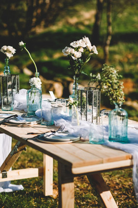 Reclaimed table with sustainable tablescape