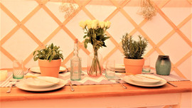 Table Setting in 18ft Yurt Yorkshire for wedding