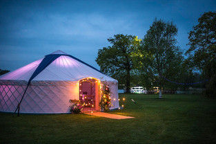 Yurt for hire in Leeds, Yorkshire with festoon lights.