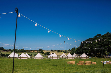 Bell tent village for wedding in yorkshire