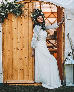 Yorkshire bride in 18th yurt for outdoor wedding