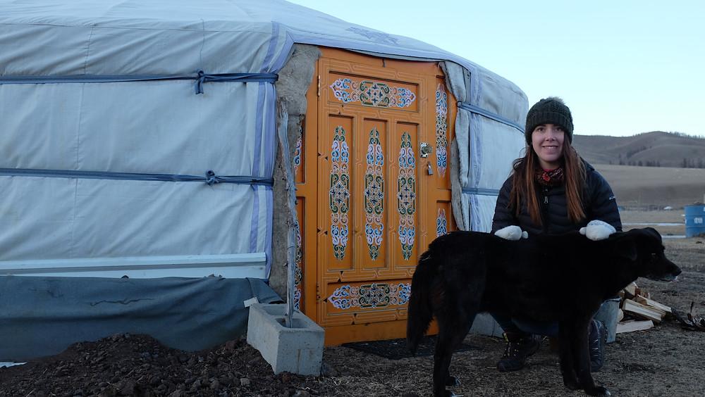 Becca in front of Mongolian yurt