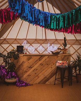 Party in a yurt with dry hire bar