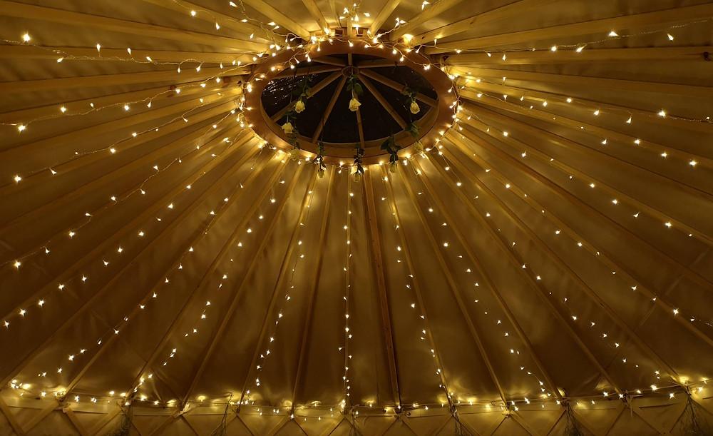 Fairy lights on the roof of yurt