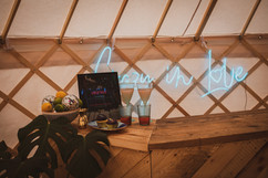 Party yurt bar in Yorkshire
