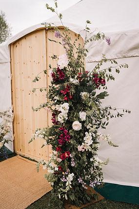 Yurt Door in Yorkshire with flower column