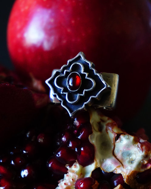 Potenza Ring in Silver with Garnet