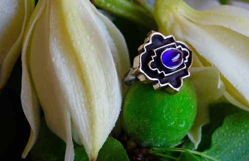 Coffered Basilica Ring with Amethyst