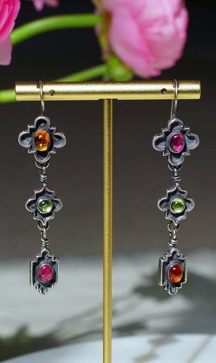 Trinitá Earrings with Tourmaline, Peridot, and Citrine